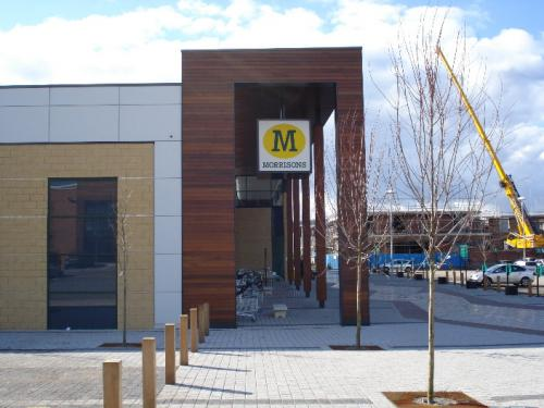 dark wood cladding Morrisons