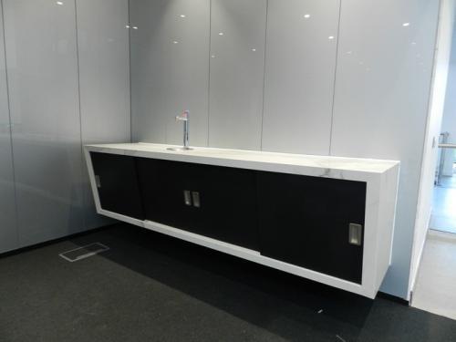 black floating cabinet