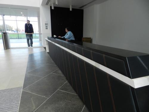 black and white modern reception desk