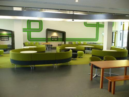 green sofa seating area