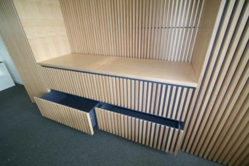 wooden cladding front storage with drawers