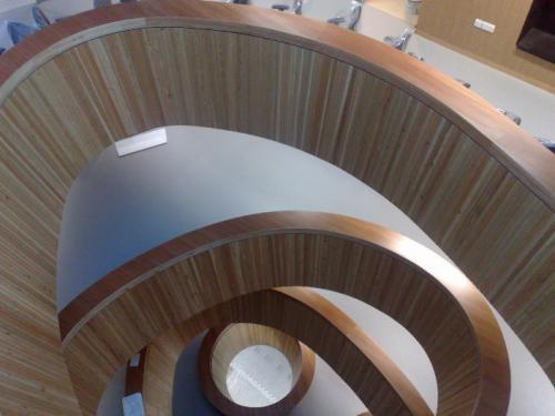 wooden balustrades on multiple floors