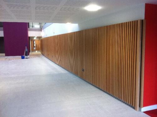 wooden cladding in corridor