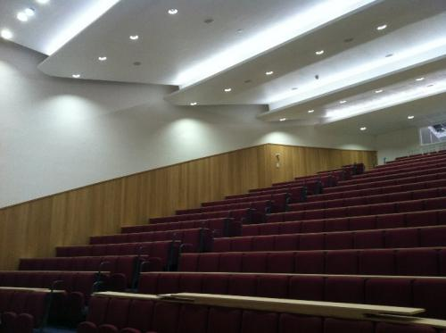 wooden cladding on lecture hall wall
