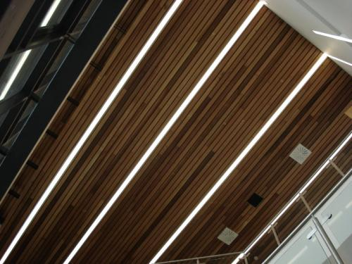 wooden cladding with light strips
