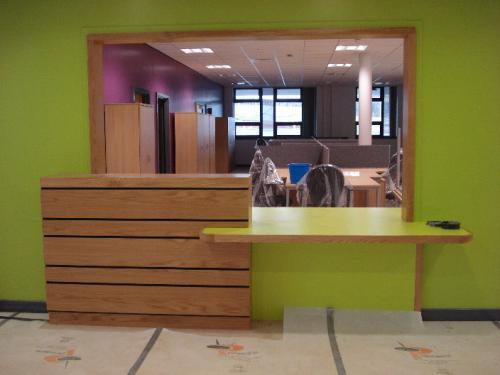 green reception desk