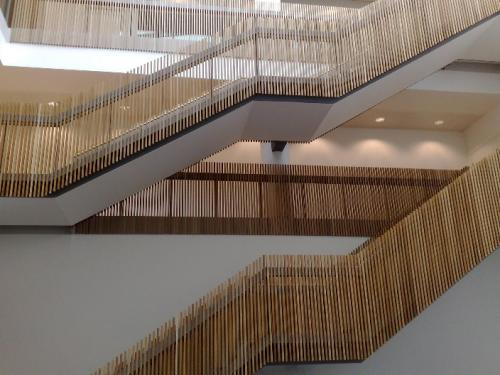 staircases and balustrades with wooden cladding