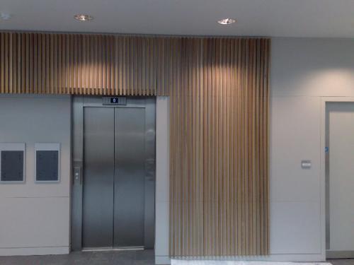 closeup of cladding surrounding lift