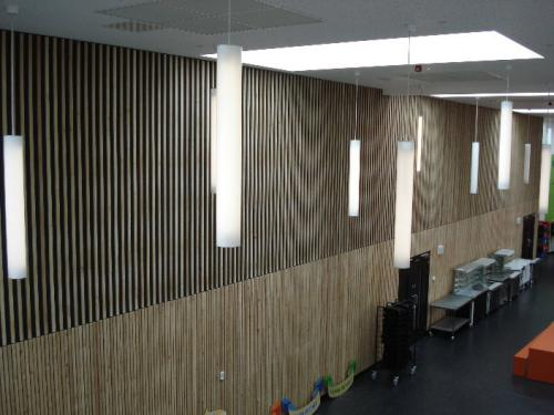 wooden cladding with dangling lights